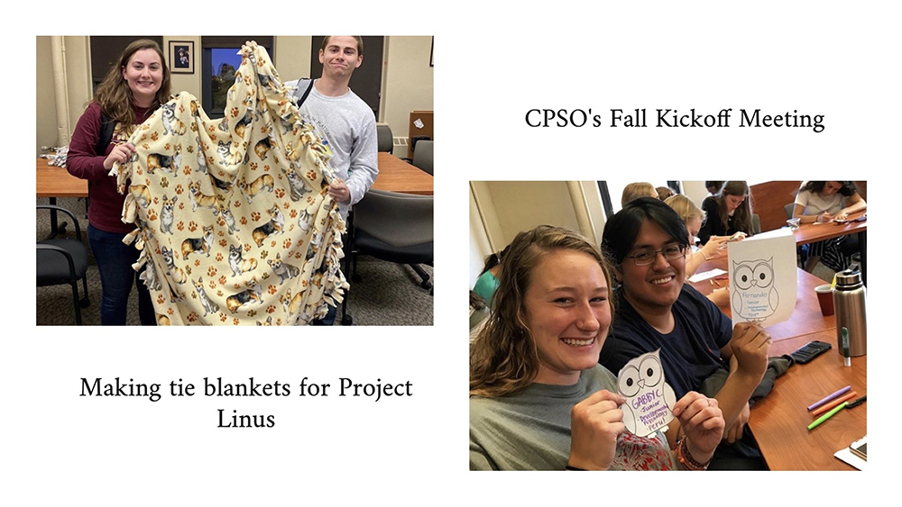 Members of the Developmental Psychology Student Organization participating in recent events, including making tie blankets for Project Linus and their fall kick-off meeting