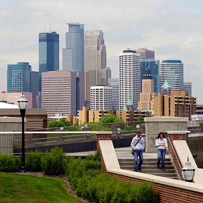View of downtown Minneapolis from the UMN campus